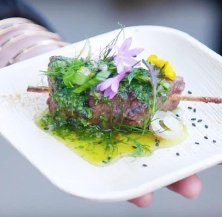 Fancy garnished wagyu steak