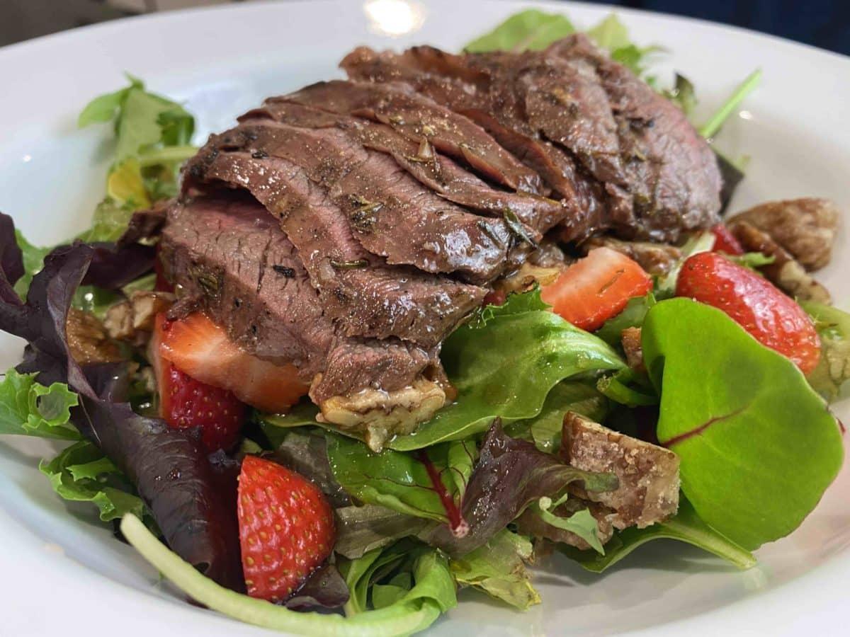 flank steak salad recipe with strawberris and balsamic honey dressing